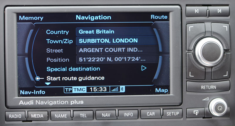 Audi TT: High Res DVD Navigation System RNS-E